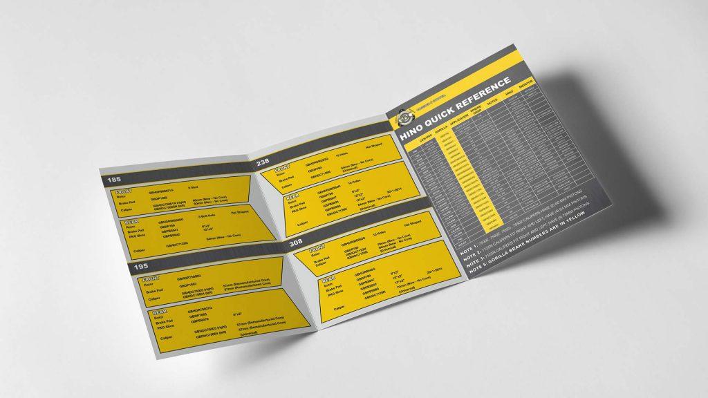 Mockup of Gorilla Brake & Components Hino catalogue for graphic design portfolio